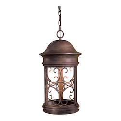 1 Light Outdoor Hanging Lantern With Rust Finish