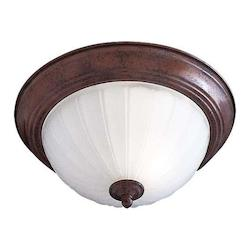 Antique Bronze 2 Light Flush Mount Ceiling Fixture