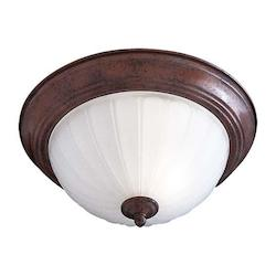 Antique Bronze 2 Light Energy Star Fluorescent Flush Mount Ceiling Fixture
