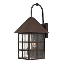 3 Light Outdoor Wall Light Wih Rust Finish