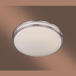 Brushed Nickel 1 Light 18In. Width Fluorescent Flush Mount Ceiling Fixture