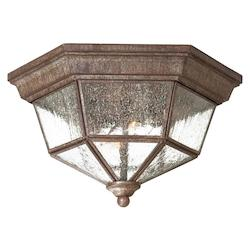 2 Light Outdoor Flush Mount With Vintage Rust Finish