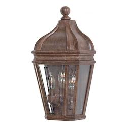 3 Light Outdoor Wall Pocket Sconce With Rust Finish