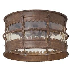 Open Box 3 Light Flush Mount With Rust Finish
