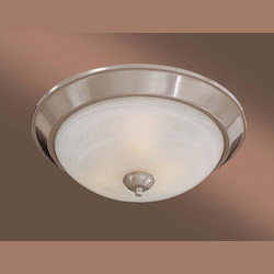 Brushed Nickel 2 Light 13In. Width Fluorescent Flush Mount Ceiling Fixture