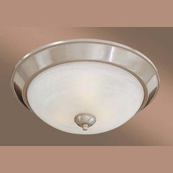 Brushed Nickel 3 Light 15In. Width Fluorescent Flush Mount Ceiling Fixture With Etched Marble Shade