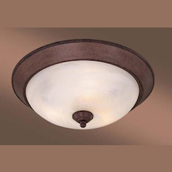 Antique Bronze 3 Light 15In. Width Fluorescent Flush Mount Ceiling Fixture With Etched Marble Shade