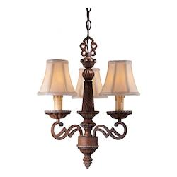 Belcaro Walnut 3 Light 1 Tier Candle Style Chandelier From The Belcaro Collection