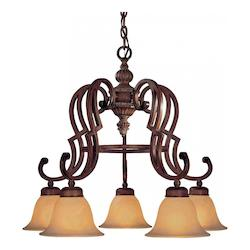 Belcaro Walnut 5 Light 21.5In. Height 1 Tier Chandelier From The Belcaro Collection
