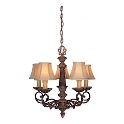 Belcaro Walnut 5 Light 22.25In. Height 1 Tier Chandelier From The Belcaro Collection
