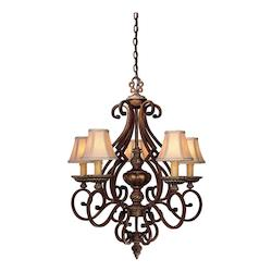Belcaro Walnut 5 Light 33In. Height 1 Tier Chandelier From The Belcaro Collection