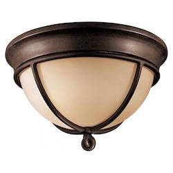 Aspen Bronze 2 Light Flush Mount Ceiling Fixture From The Aspen Collection