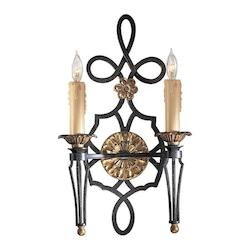 French Black 2 Light 11.5In. Width Candle-Style Double Wall Sconce From The Montparnasse Collection
