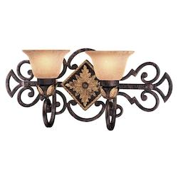 Golden Bronze 2 Light 23.75In. Width Bathroom Vanity Light From The Zaragoza Collection