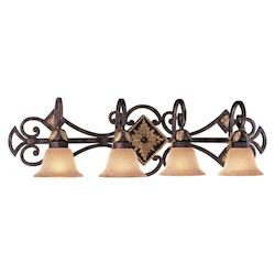 Golden Bronze 4 Light 37In. Width Bathroom Vanity Light From The Zaragoza Collection