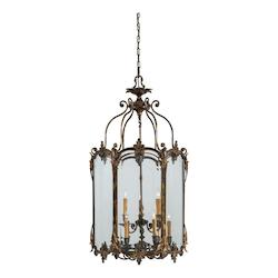 Nine Light Antique Bronze Patina Clear Glass Framed Glass Foyer Hall