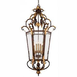 Golden Bronze 8 Light Lantern Pendant From The Zaragoza Collection