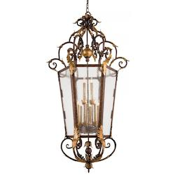 Golden Bronze 12 Light Lantern Pendant From The Zaragoza Collection