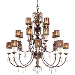 Sanguesa Patina 22 Light 3 Tier Candle Style Crystal Chandelier From The Sanguesa Collection