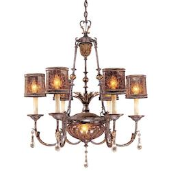 Sanguesa Patina 8 Light 30In. Width 1 Tier Candle Style Crystal Chandelier From The Sanguesa Collection