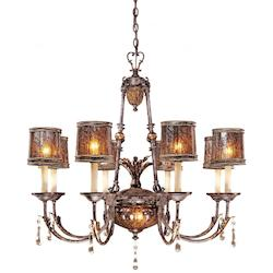 Sanguesa Patina 8 Light 36In. Width 1 Tier Candle Style Crystal Chandelier From The Sanguesa Collection