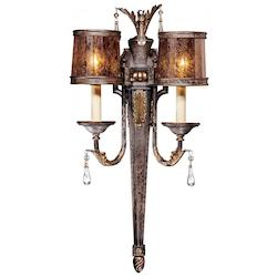 Sanguesa Patina 2 Light Candle-Style Double Wall Sconce From The Sanguesa Collection