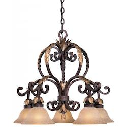 Golden Bronze 5 Light 1 Tier Chandelier From The Zaragoza Collection