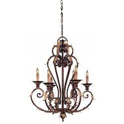 Golden Bronze 6 Light 27In. Width 1 Tier Candle Style Chandelier From The Zaragoza Collection