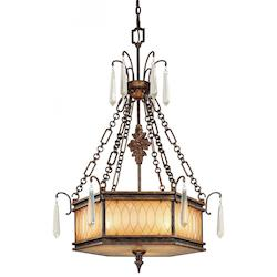 Terraza Villa Aged Patina 3 Light 40.5In. Height Bowl Shaped Pendant From The Terraza Villa Collection