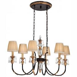 Metropolitan 6 Light Island French Bronze with Gold finish and Krystal Accents
