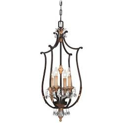 Metropolitan 4 Light Pendant with French Bronze and Eidolon Accents