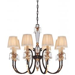 Minka Metropolitan Eight Light French Bronze With Gold Leaf Highlights Pleated Champagne Shade Up Chandelier - N6648-258B