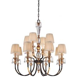 French Bronze With Gold Leaf Highlights 12 Light 2 Tier Candle Style Crystal Chandelier From The Bella Cristallo Collection