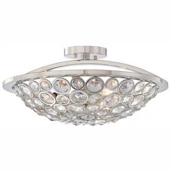 Polished Nickel 3 Light Semi-Flush Ceiling Fixture From The Magique Collection