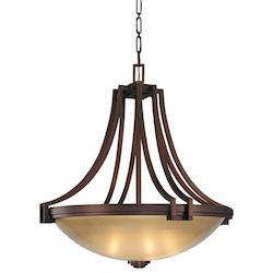 Cimarron Bronze 5 Light Bowl Shaped Pendant From The Underscore Collection
