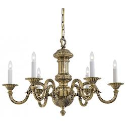Antique Classic Brass 6 Light 29.5In. Width 1 Tier Candle Style Chandelier From The Metropolitan Collection