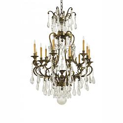Twelve Light Oxidized Brass Bohemian Crystals Glass Up Chandelier