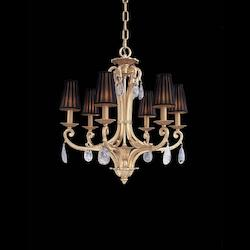 Antique Gold Plated 6 Light 32.25In. Width 1 Tier Candle Style Crystal Chandelier From The Vintage Collection