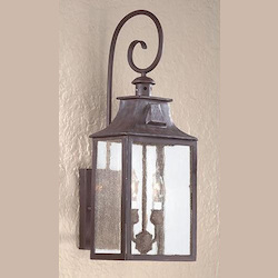 Two Light Old Bronze Wall Lantern