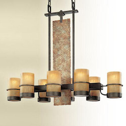 Eight Light Bamboo Bronze Candle Island Light