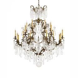 Twenty Four Light Oxidized Brass Bohemian Crystals Glass Up Chandelier