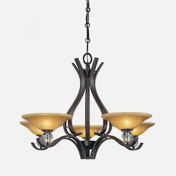 Deep Lathan Bronze 5 Light 1 Tier Chandelier from the Grahmton Collection - 231144