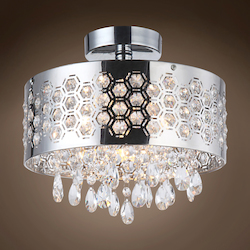 3 Light Shaded Crystal Pendant Chandelier Light in Chrome Finish with Crystal - 231713