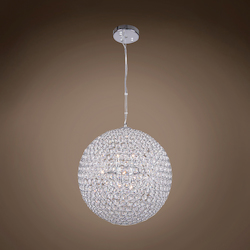 8 Light Round Crystal Pendant Light in Chrome Finish with Clear Crystal - 231716
