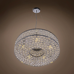 5 Light Round Crystal Pendant Light in Chrome Finish with Clear Crystal - 231724