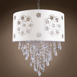 1 Light Crystal Pendant Light in Chrome Finish with White Shade and Crystal - 231729