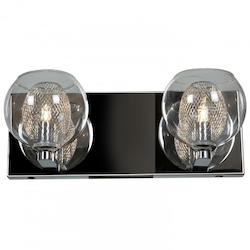 Two Light Clear Glass Chrome Wall Light