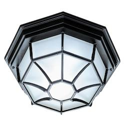 Two Light Matte Black Outdoor Flush Mount