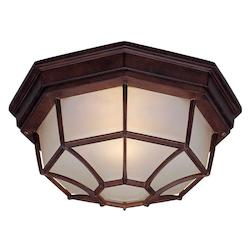 Two Light Burled Walnut Outdoor Flush Mount