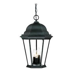 Three Light Matte Black Hanging Lantern